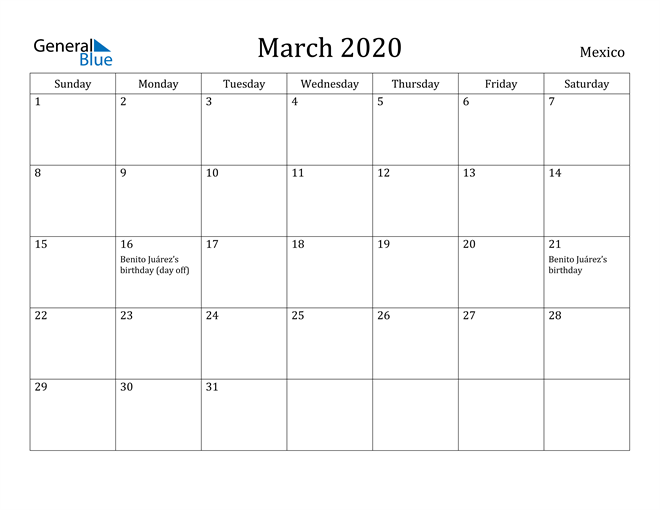 Image of March 2020 Mexico Calendar with Holidays Calendar