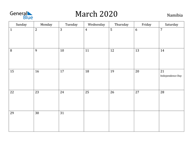 Image of March 2020 Namibia Calendar with Holidays Calendar