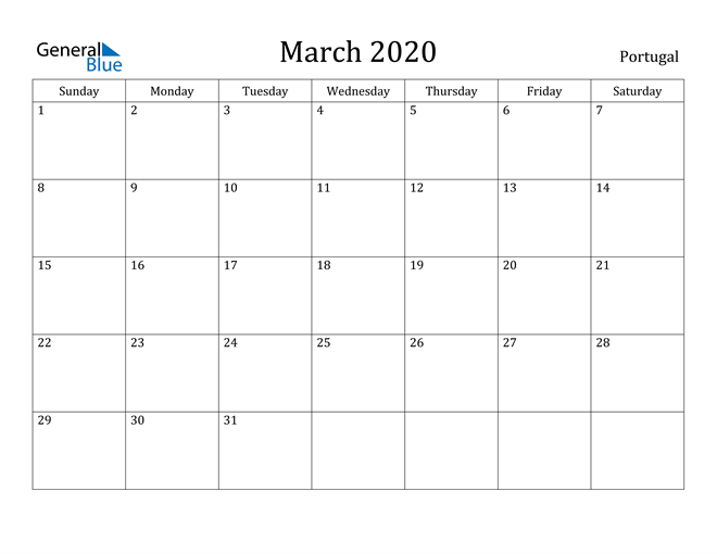 Image of March 2020 Portugal Calendar with Holidays Calendar