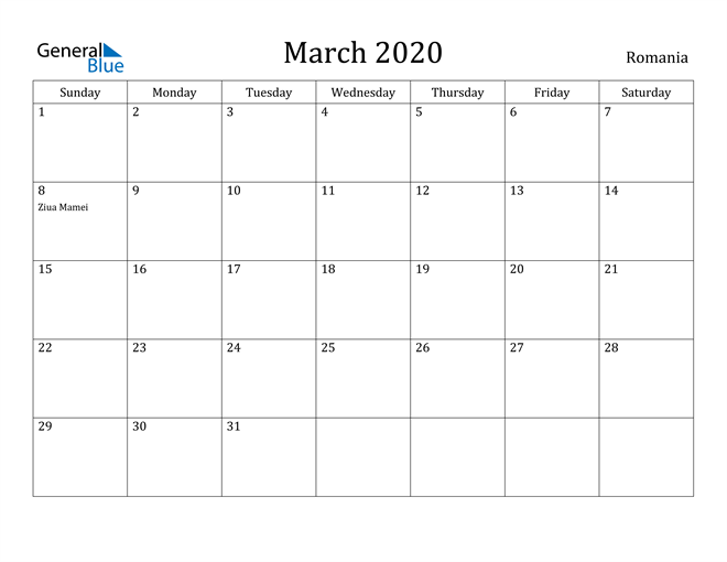 Image of March 2020 Romania Calendar with Holidays Calendar