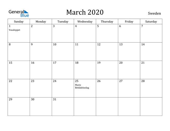 Image of March 2020 Sweden Calendar with Holidays Calendar