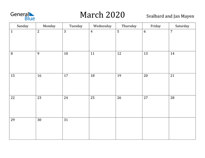 Image of March 2020 Svalbard and Jan Mayen Calendar with Holidays Calendar