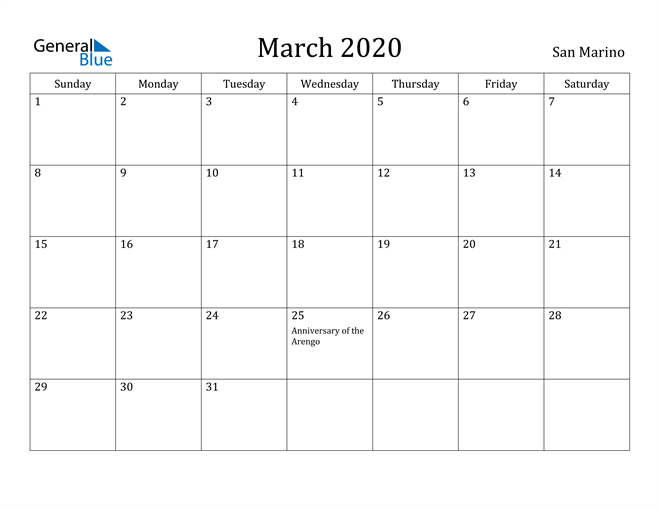 Image of March 2020 San Marino Calendar with Holidays Calendar