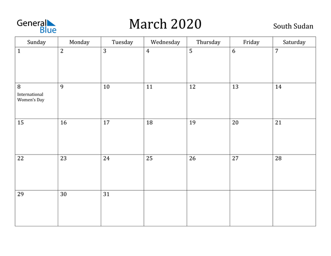 Image of March 2020 South Sudan Calendar with Holidays Calendar