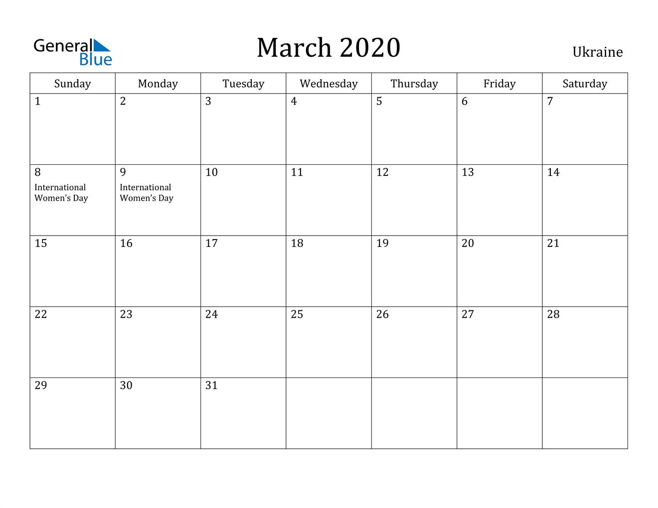 Image of March 2020 Ukraine Calendar with Holidays Calendar