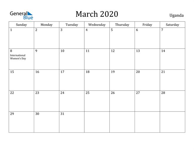 Image of March 2020 Uganda Calendar with Holidays Calendar
