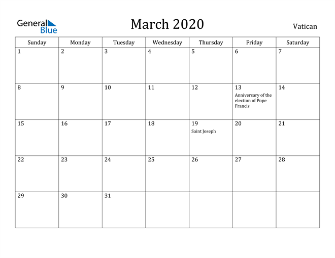 Image of March 2020 Vatican Calendar with Holidays Calendar