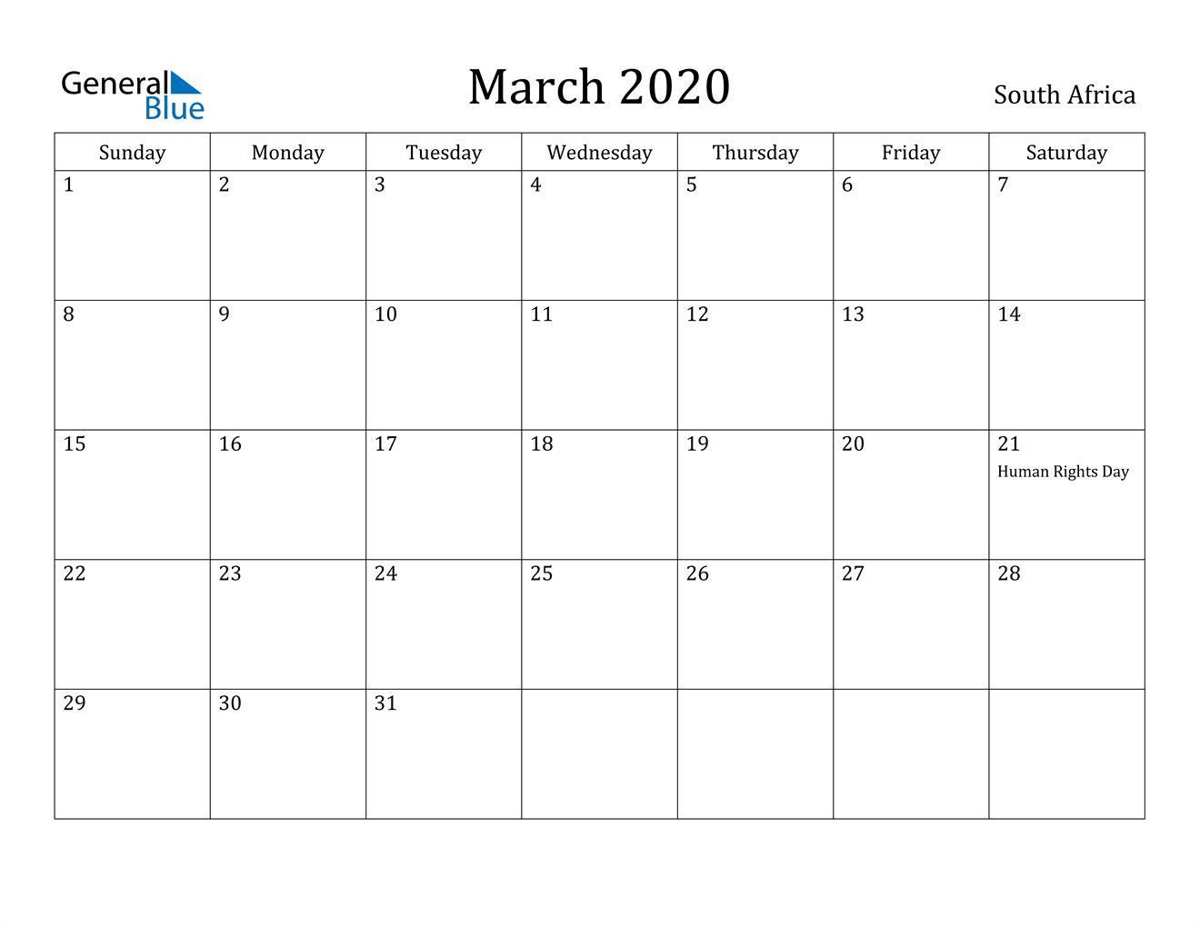March 2020 Calendar - South Africa