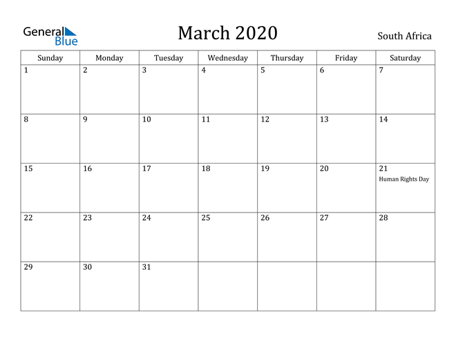 Image of March 2020 South Africa Calendar with Holidays Calendar