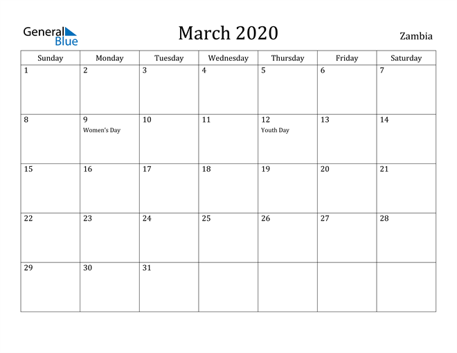 Image of March 2020 Zambia Calendar with Holidays Calendar