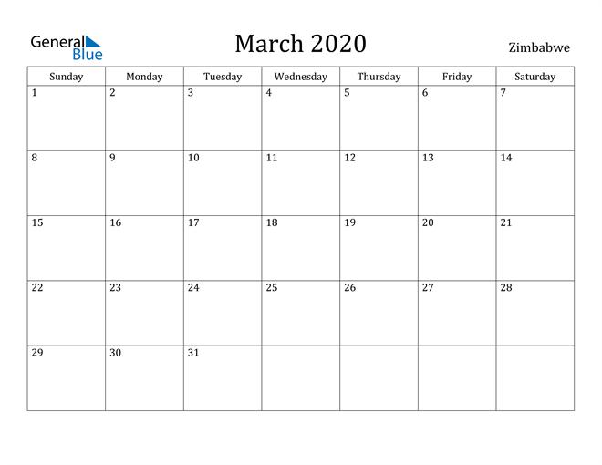 Image of March 2020 Zimbabwe Calendar with Holidays Calendar