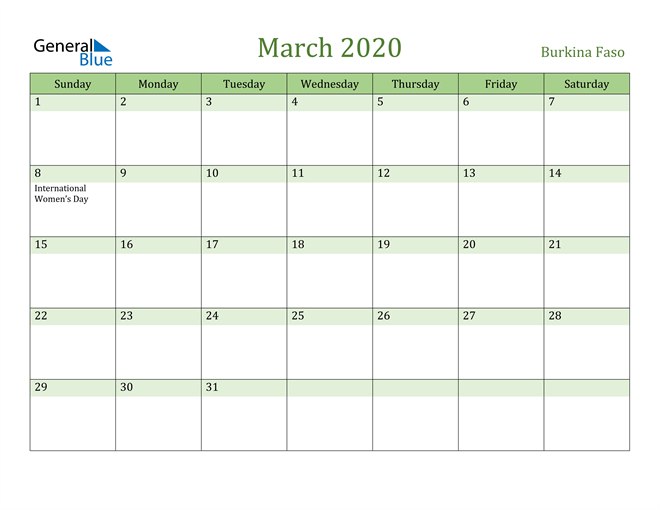 March 2020 Calendar with Burkina Faso Holidays