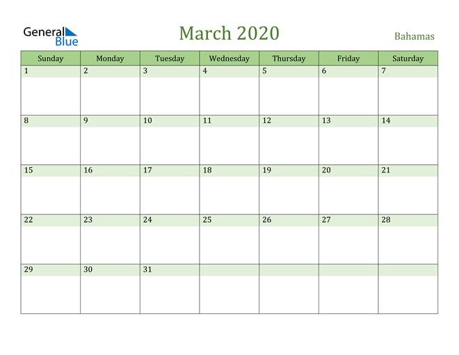 March 2020 Calendar with Bahamas Holidays