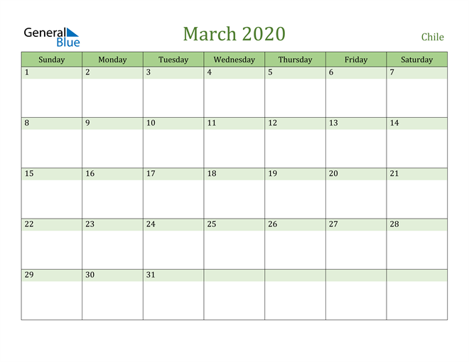 March 2020 Calendar with Chile Holidays