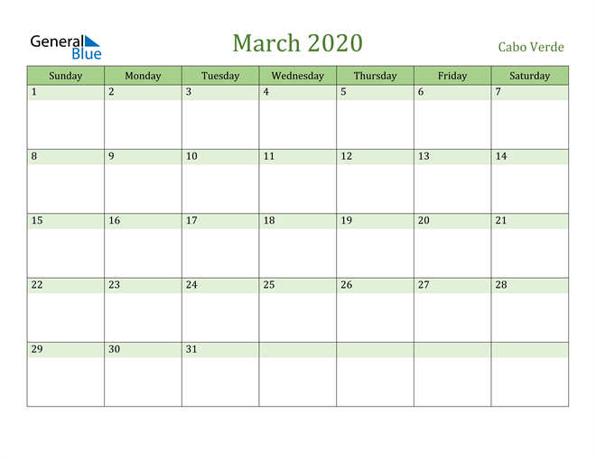 March 2020 Calendar with Cabo Verde Holidays