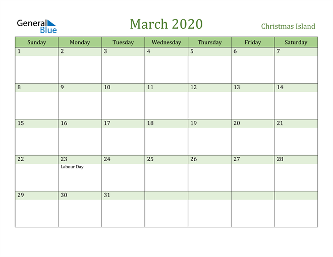 Image of March 2020 Cool and Relaxing Green Calendar Calendar