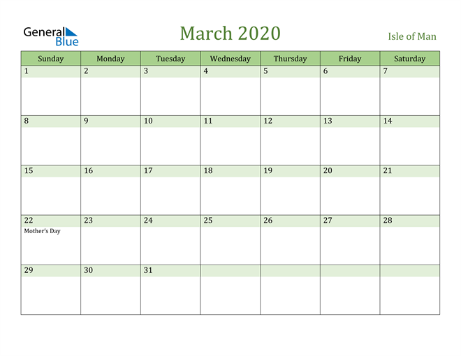 March 2020 Calendar with Isle of Man Holidays