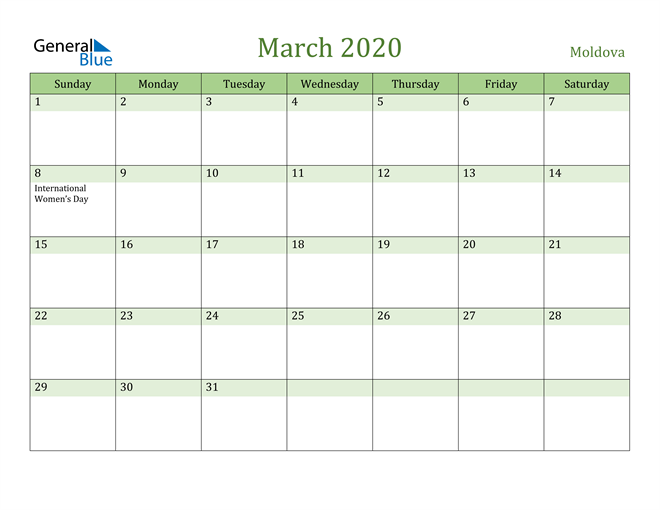 March 2020 Calendar with Moldova Holidays