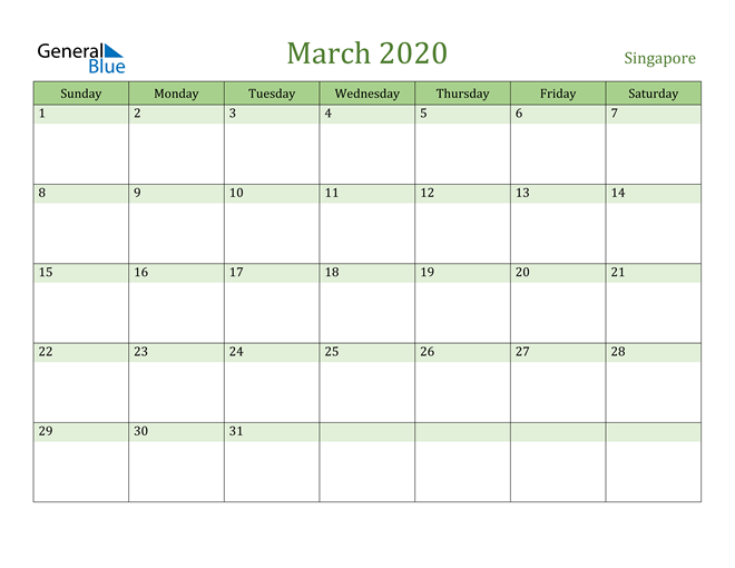 March 2020 Calendar with Singapore Holidays