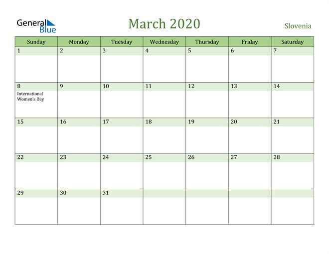 March 2020 Calendar with Slovenia Holidays