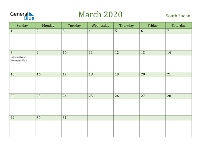 March 2020 Calendar with South Sudan Holidays