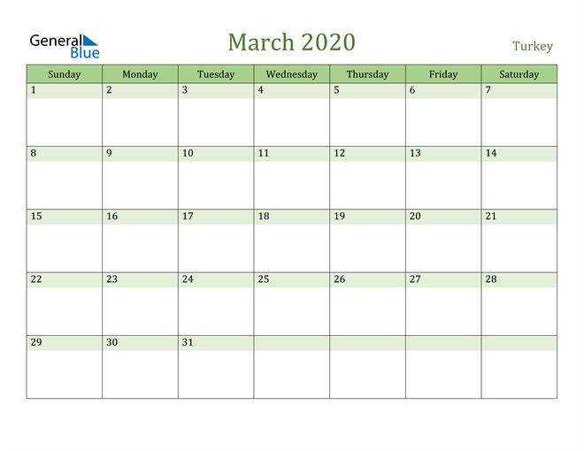 March 2020 Cool and Relaxing Green Calendar Calendar