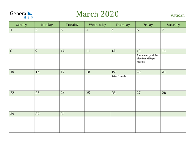 March 2020 Calendar with Vatican Holidays