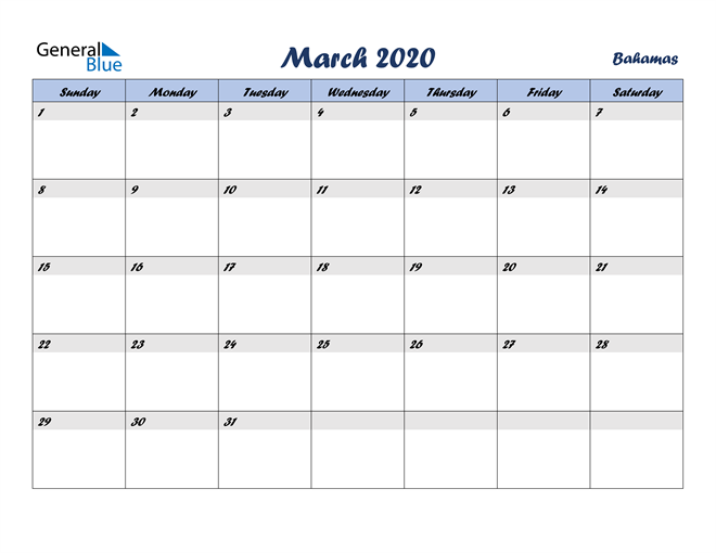 March 2020 Calendar with Holidays