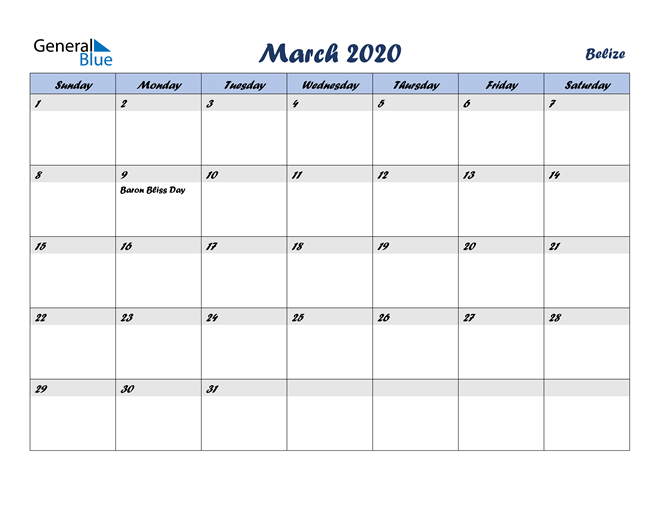 March 2020 Italicized and Cool Blue, A Fun Calendar in PDF, Word and Excel Calendar