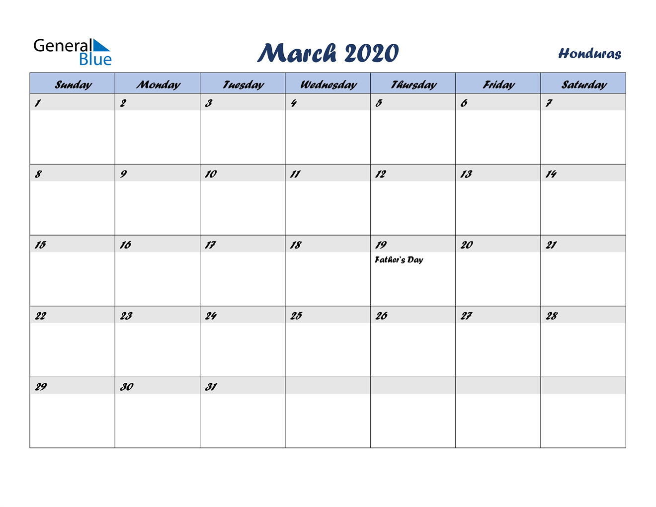 Image of March 2020 Italicized and Cool Blue, A Fun Calendar in PDF, Word and Excel Calendar