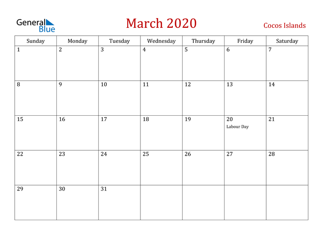 Image of March 2020 Dark and Red Professional Office Calendar Calendar