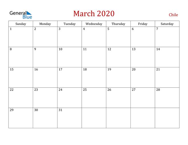 Chile March 2020 Calendar