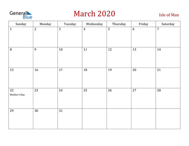 Isle of Man March 2020 Calendar