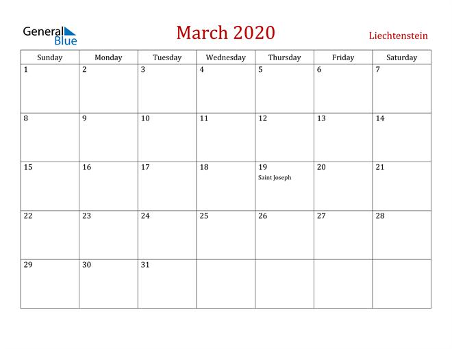 Liechtenstein March 2020 Calendar