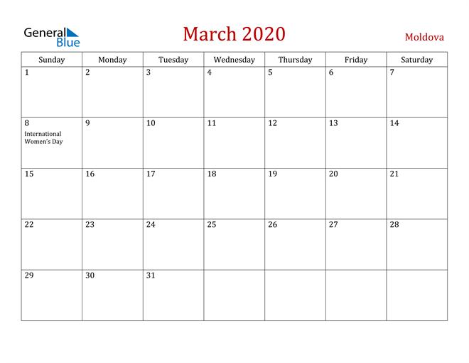 Moldova March 2020 Calendar