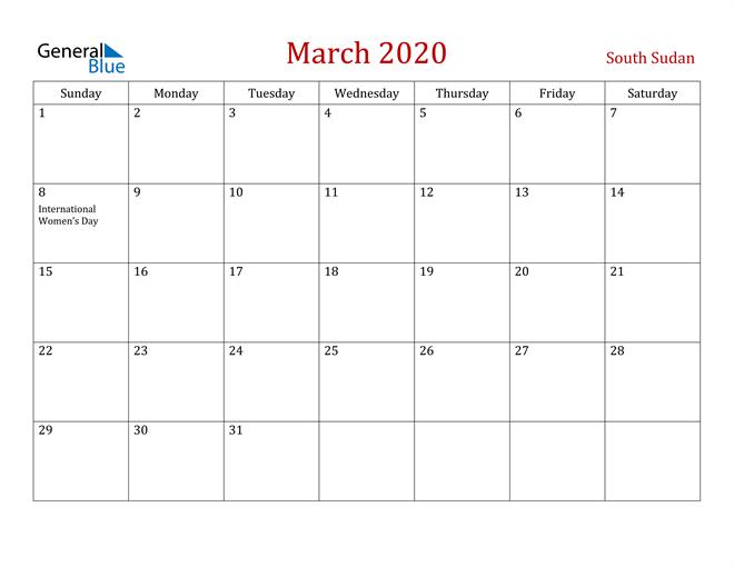 South Sudan March 2020 Calendar