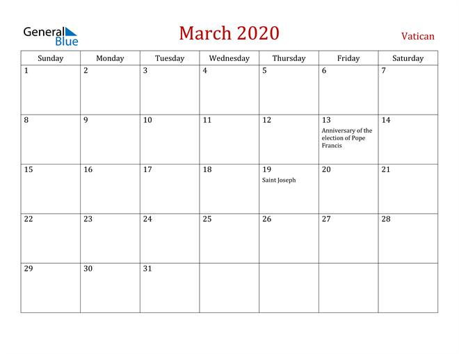 Vatican March 2020 Calendar