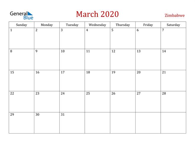 Zimbabwe March 2020 Calendar