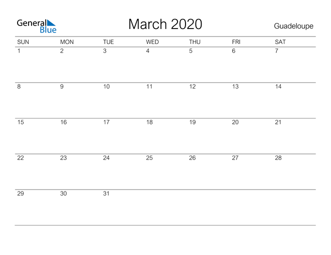 Printable March 2020 Calendar for Guadeloupe
