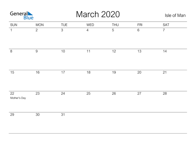 Printable March 2020 Calendar for Isle of Man