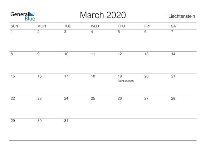 Printable March 2020 Calendar for Liechtenstein