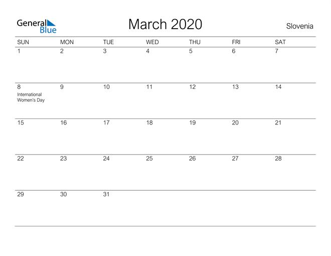 Printable March 2020 Calendar for Slovenia