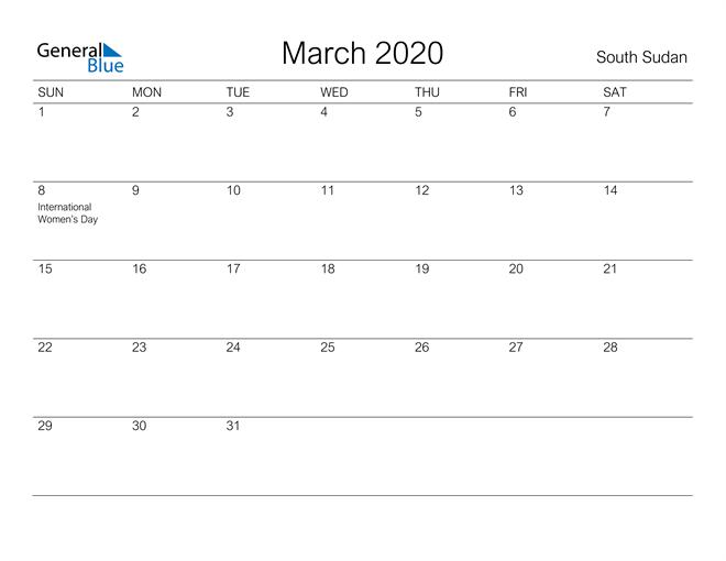 Printable March 2020 Calendar for South Sudan