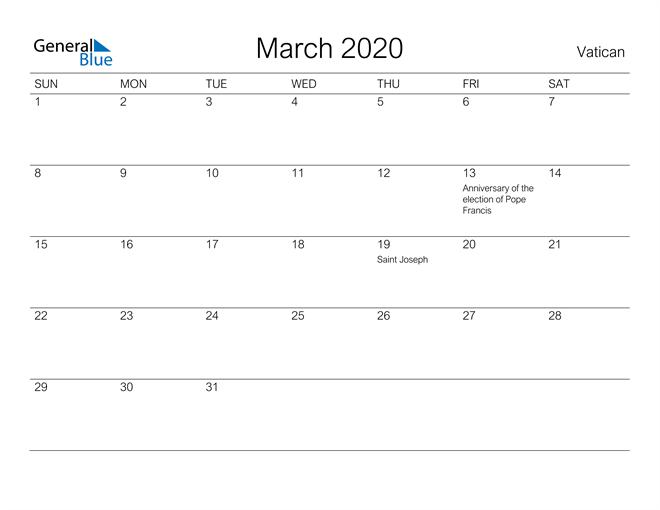 Printable March 2020 Calendar for Vatican