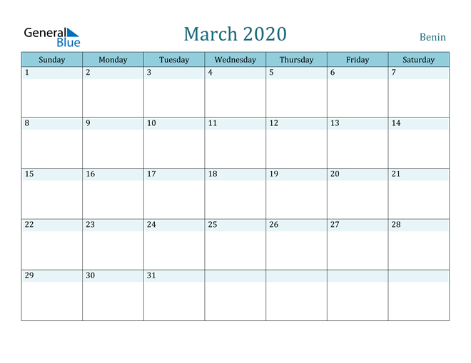 Image of March 2020 Colorful Turquoise Calendar in PDF, Word and Excel Calendar
