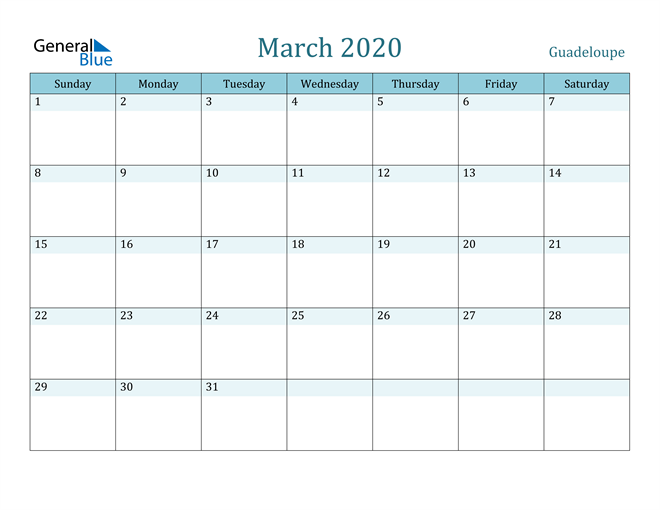 March 2020 Calendar with Holidays in PDF, Word, and Excel