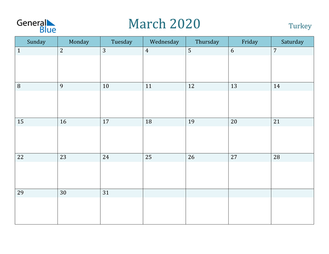 March 2020 Colorful Turquoise Calendar in PDF, Word and Excel Calendar