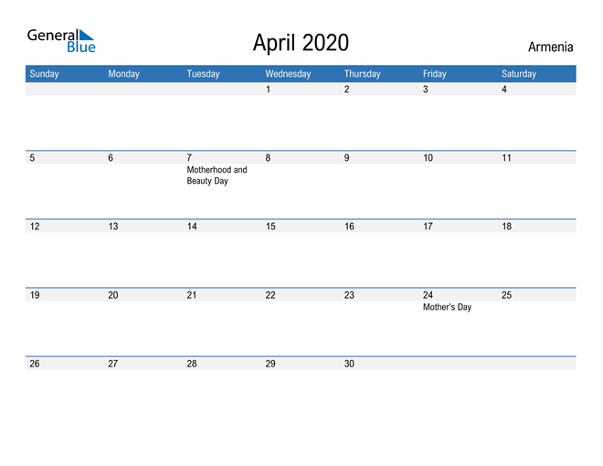 Fillable April 2020 Calendar