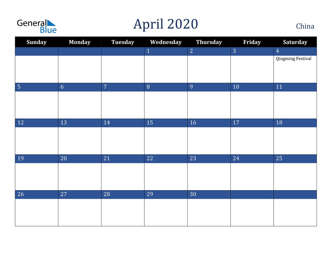 Image of April 2020 Stylish Dark Blue Calendar in PDF, Word and Excel Calendar