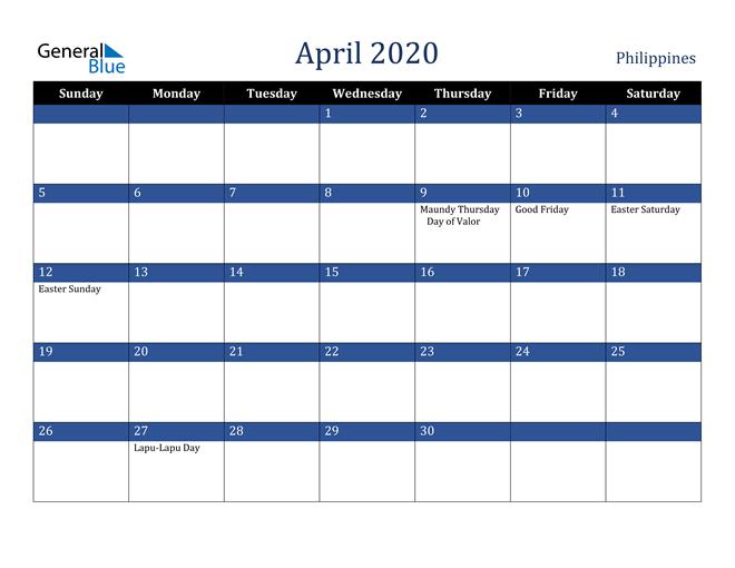 April 2020 Philippines Calendar